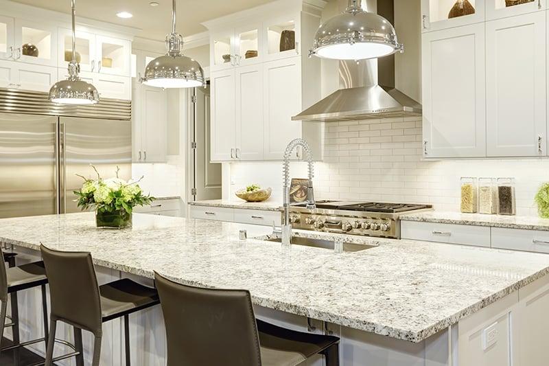 25 White Granite Countertop Colors For, White Kitchen Cabinets With Granite Countertops