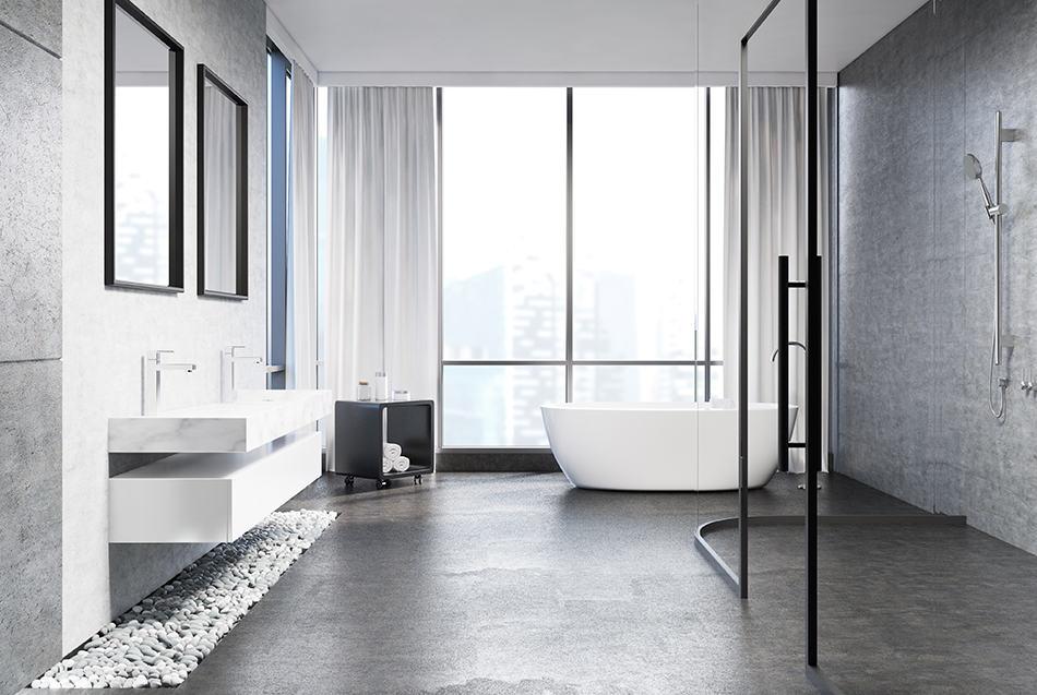 6 creative ideas for concrete bathroom floors and their