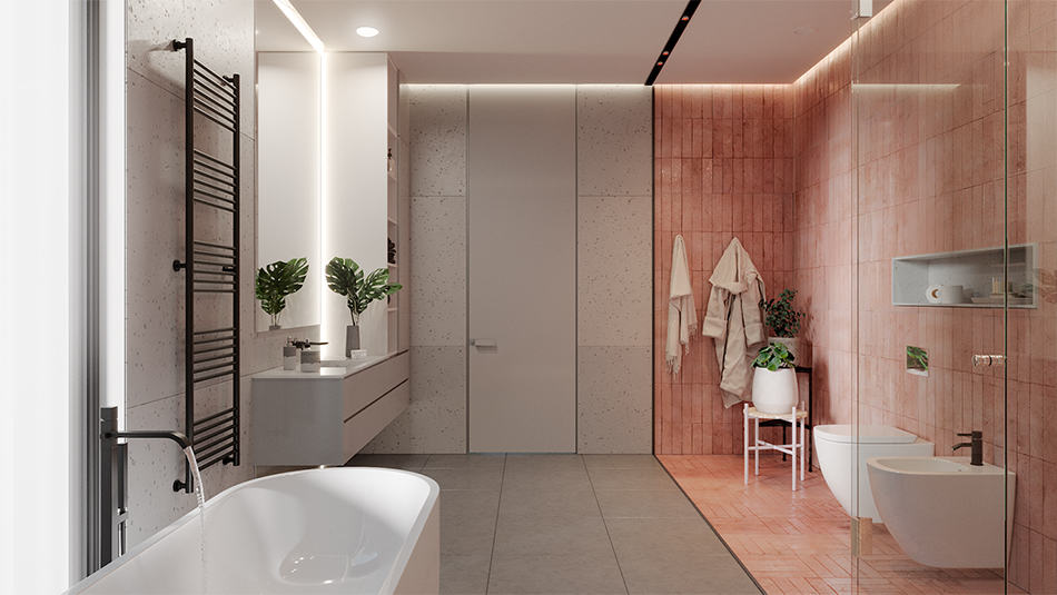 Bathroom with stamped concrete floor