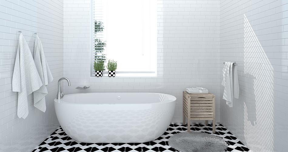 Modern bathroom with checkerboard-tile floor