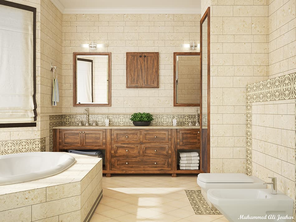 Bathroom with Concrete Tiles