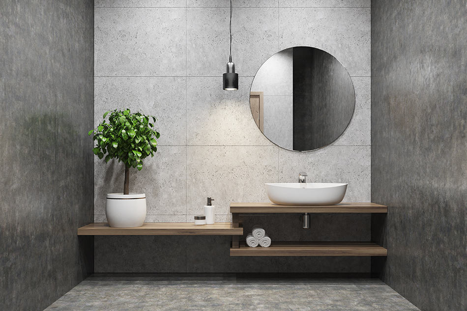 Decorative Concrete Flooring Bathroom with a wooden self and a sink on it