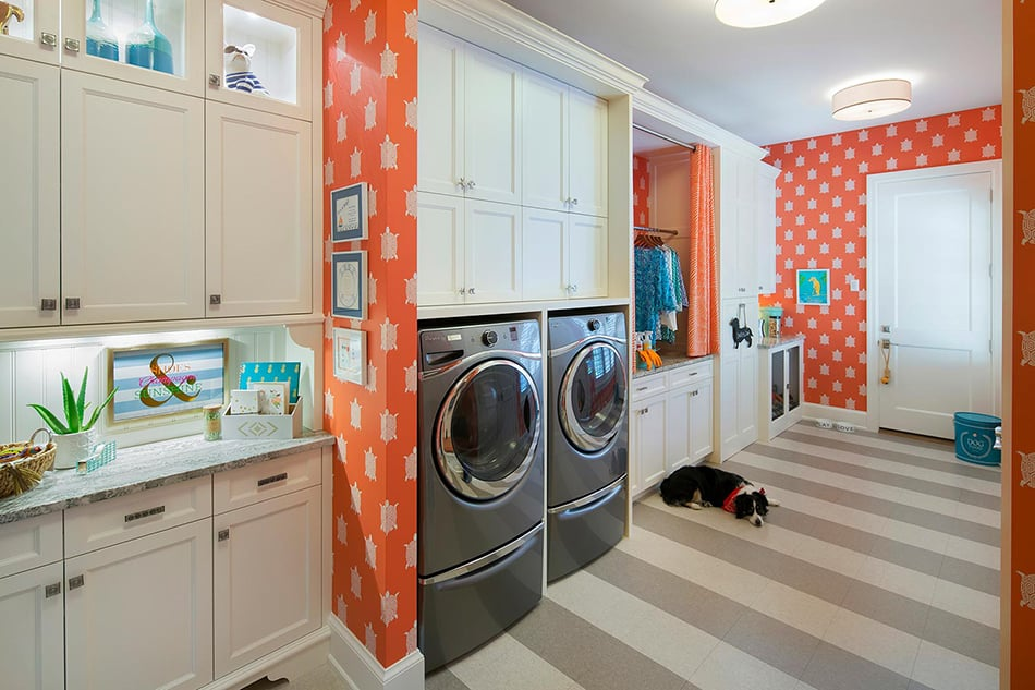 Orange Laundry Room