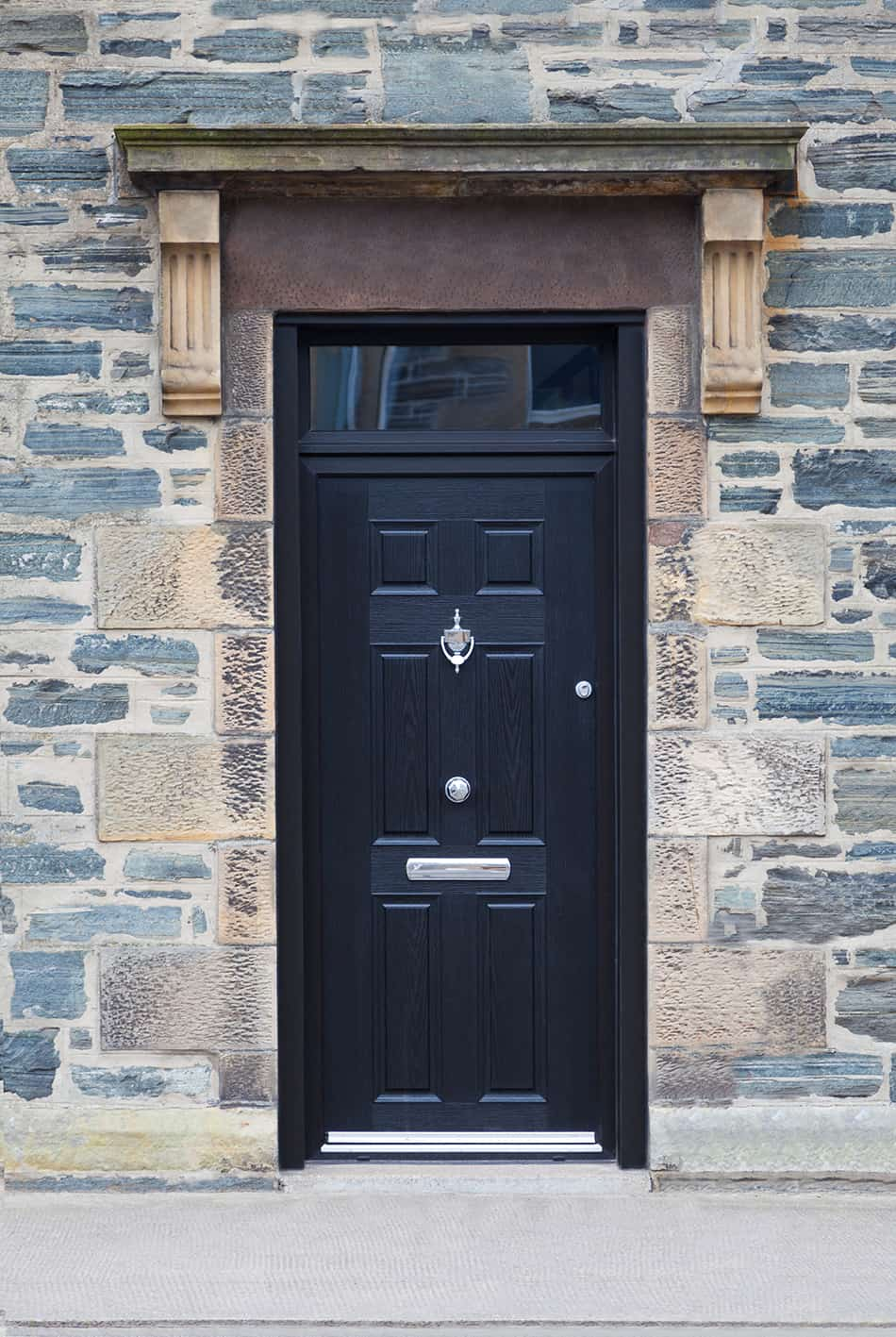 A black door to accentuate a traditional feature