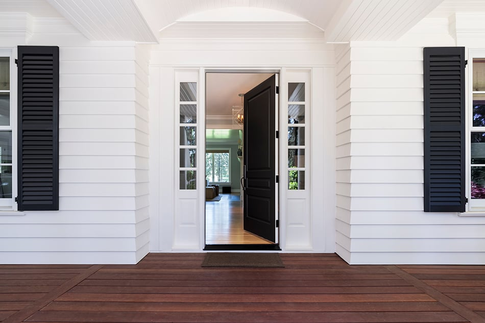 Black door with a neutral exterior