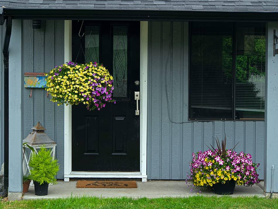 Black reclaimed door for authenticity