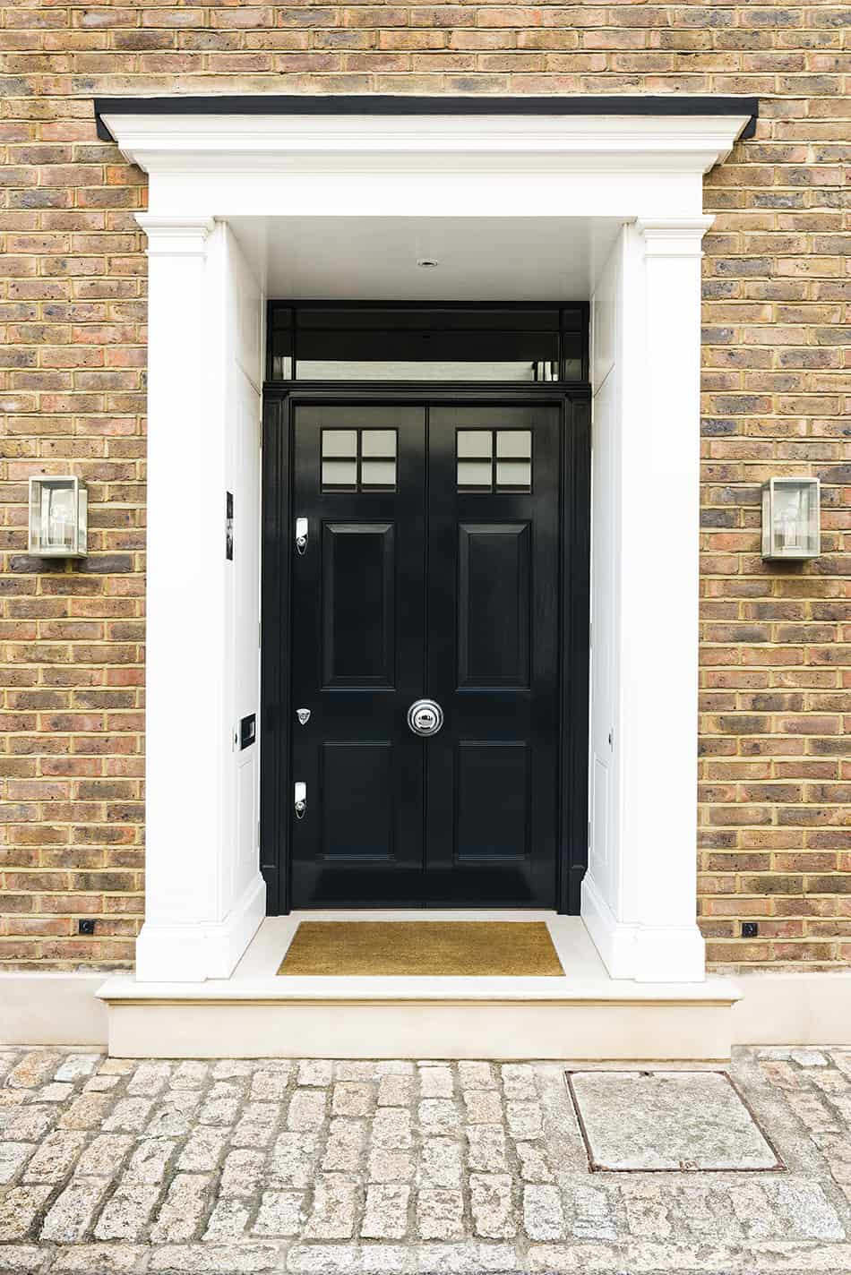 Glass front door with glass upper panels