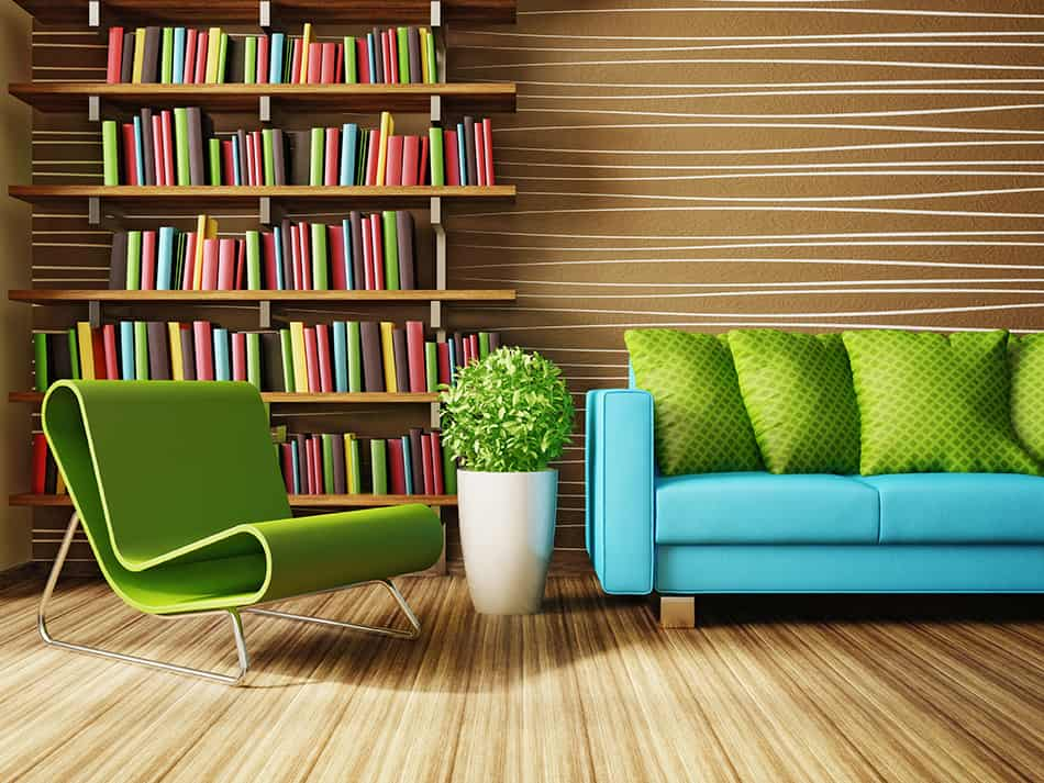 A bookshelf for display of color