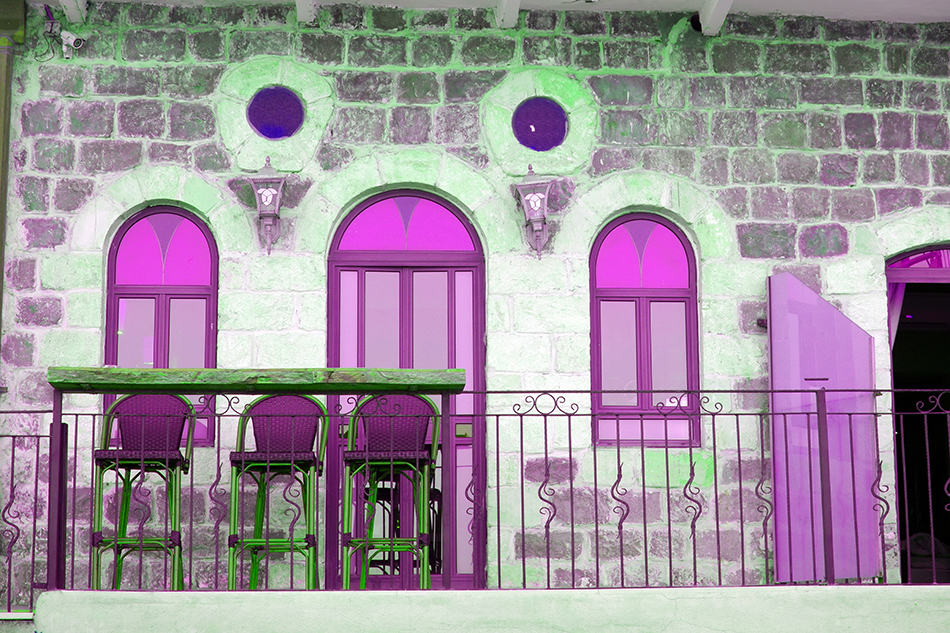 Arched Purple Glass Windows and Door