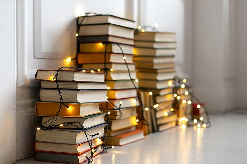 Artfully stack books on the floor