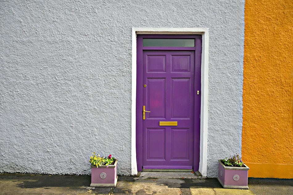 Bold Purple Door on a Grey Exterior