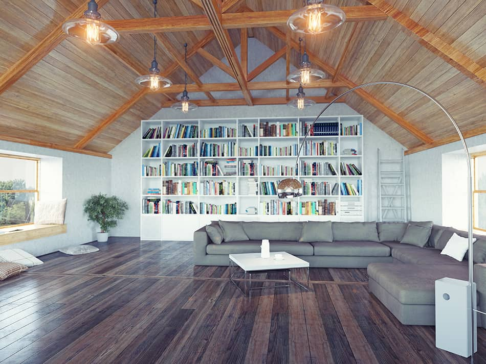 Create an accent wall with bookshelves