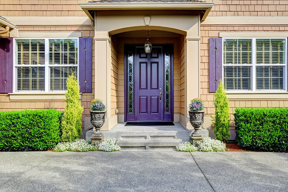 Dark Purple Front Door on a Luxury Home For a Touch of Class
