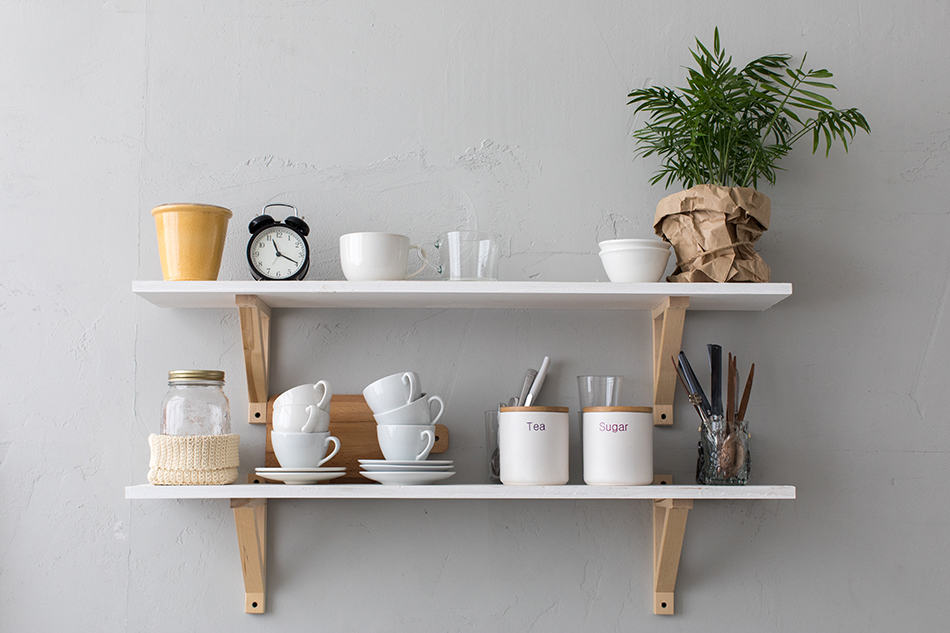 Fill up wall shelves with utensils