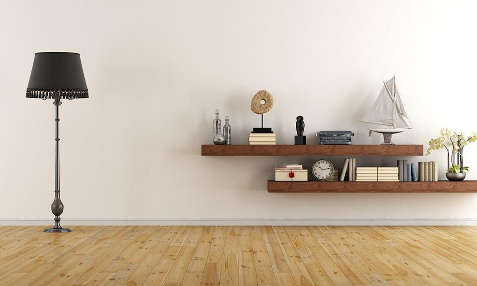 Floating shelves for added appeal