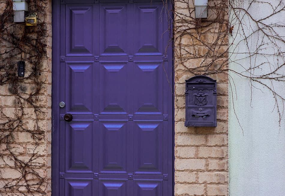 Metal Purple Door with Matching Mailbox
