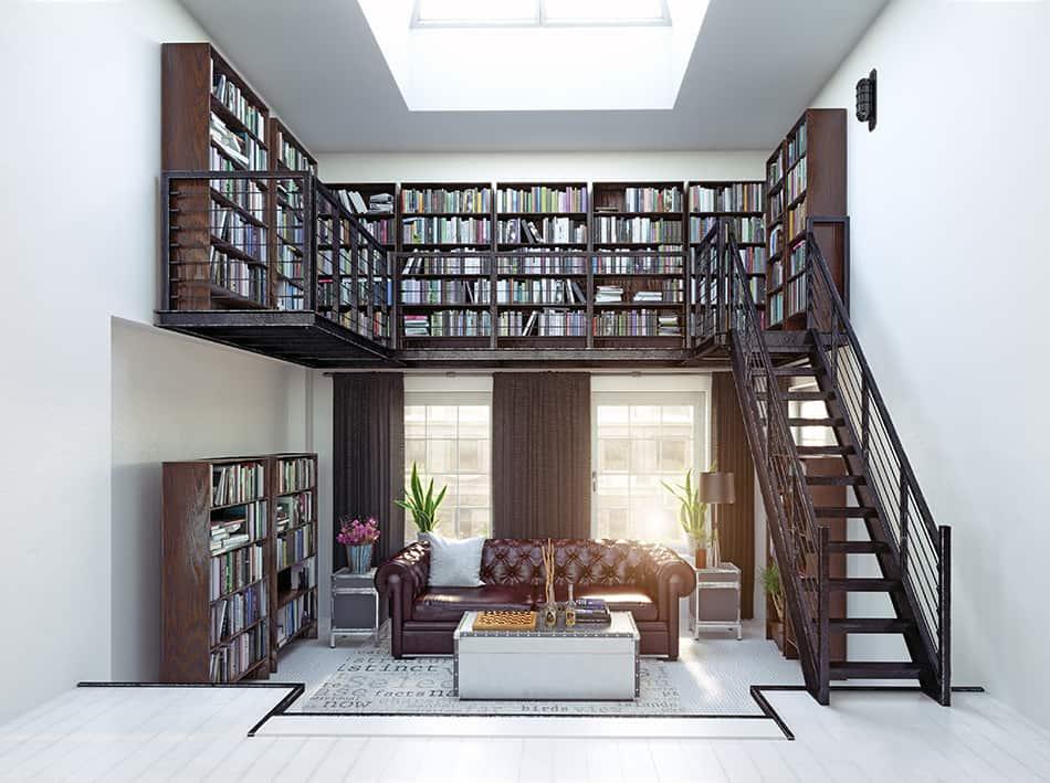 Mezzanine level bookshelf as a library