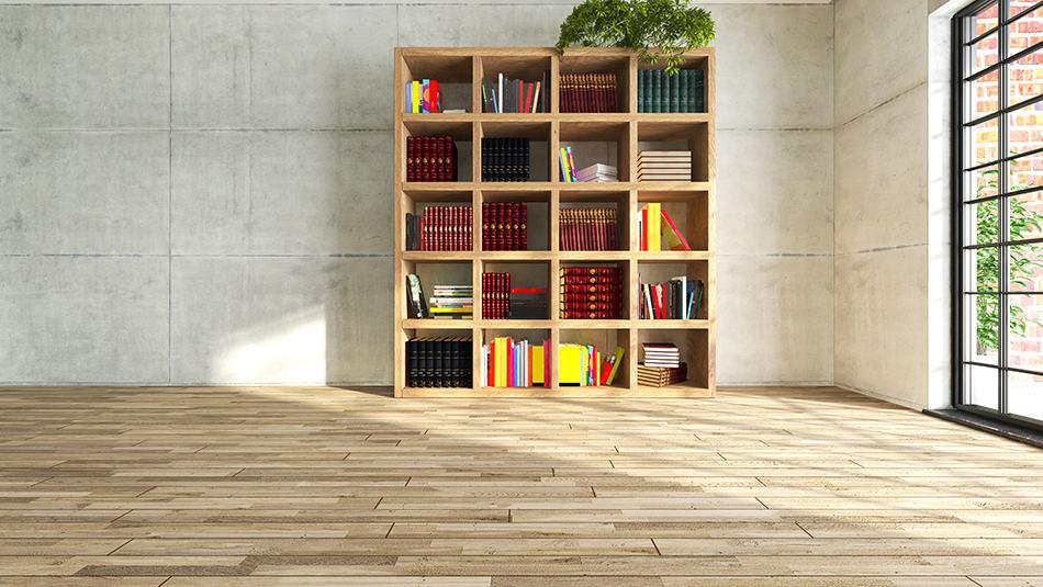 Open wooden shelves to match the floor
