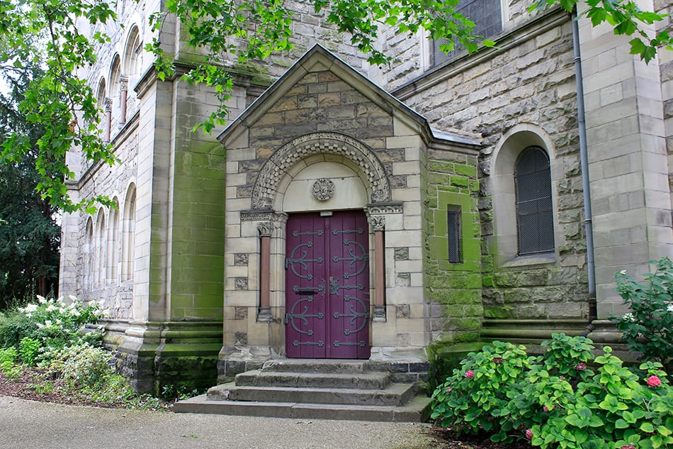 Purple Door on Stone Exterior to Complete the Architectural Look