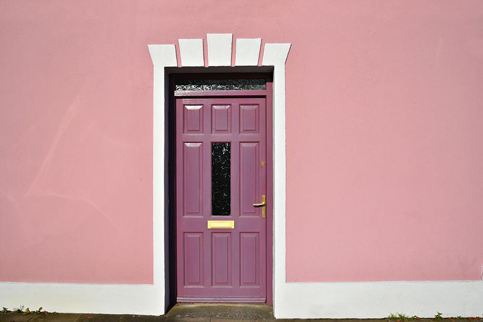 Purple Door on a Pink Exterior