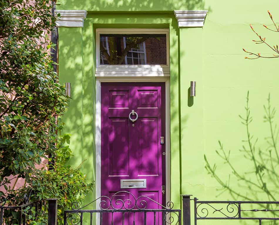 Purple Front Door with Green Exterior