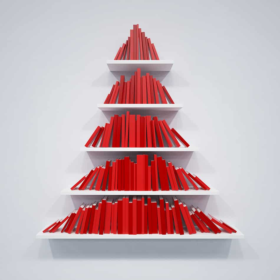 Stack books in a tree shape
