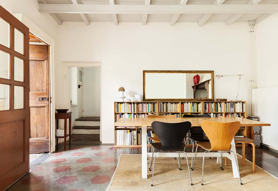Trick the eye with low-level bookshelves