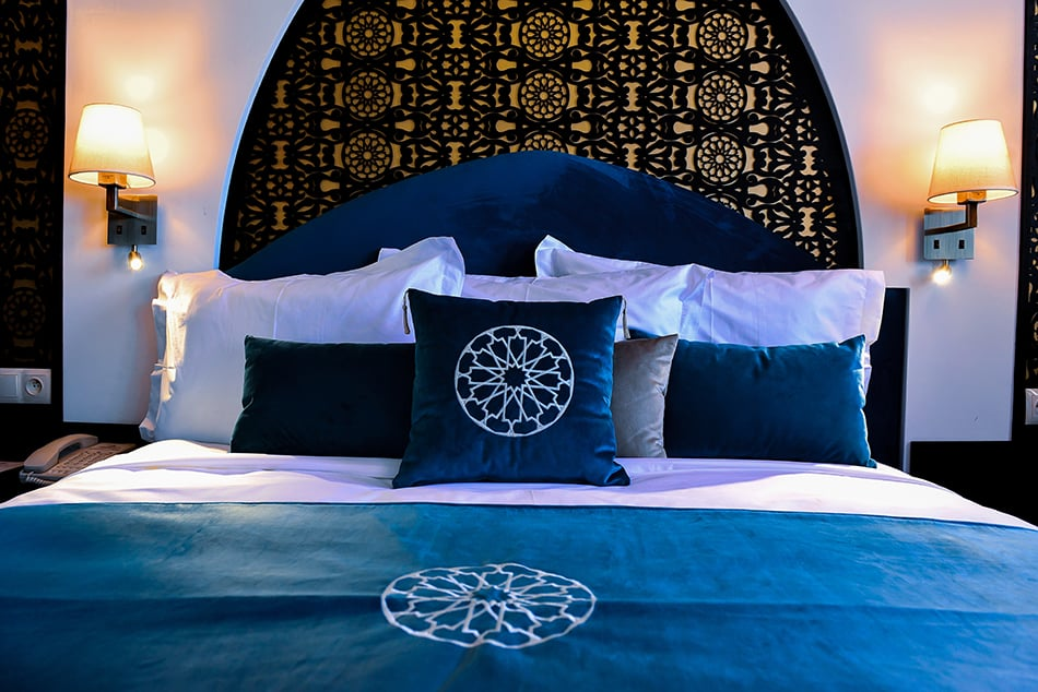 A Moroccan Teal Bedroom