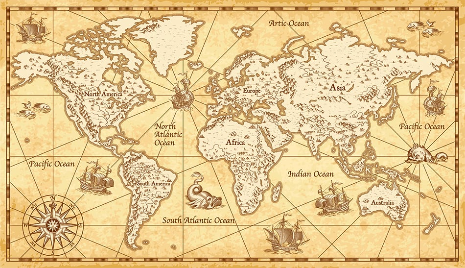 A Vintage Sailing Map as Traditional Artwork