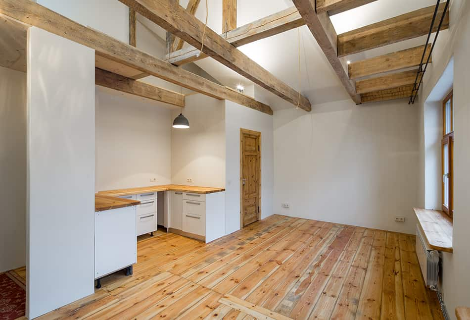 Exposed Wooden Beamed Ceiling