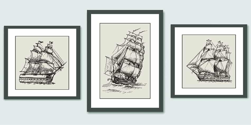Framed Hand-drawn Ships on the Wall