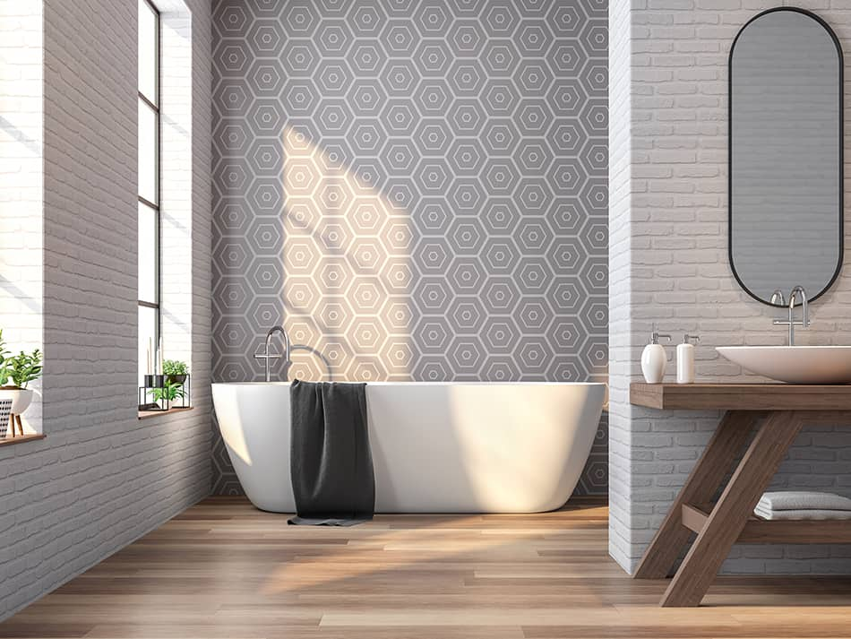 Geometric Wallpaper for the Bathroom