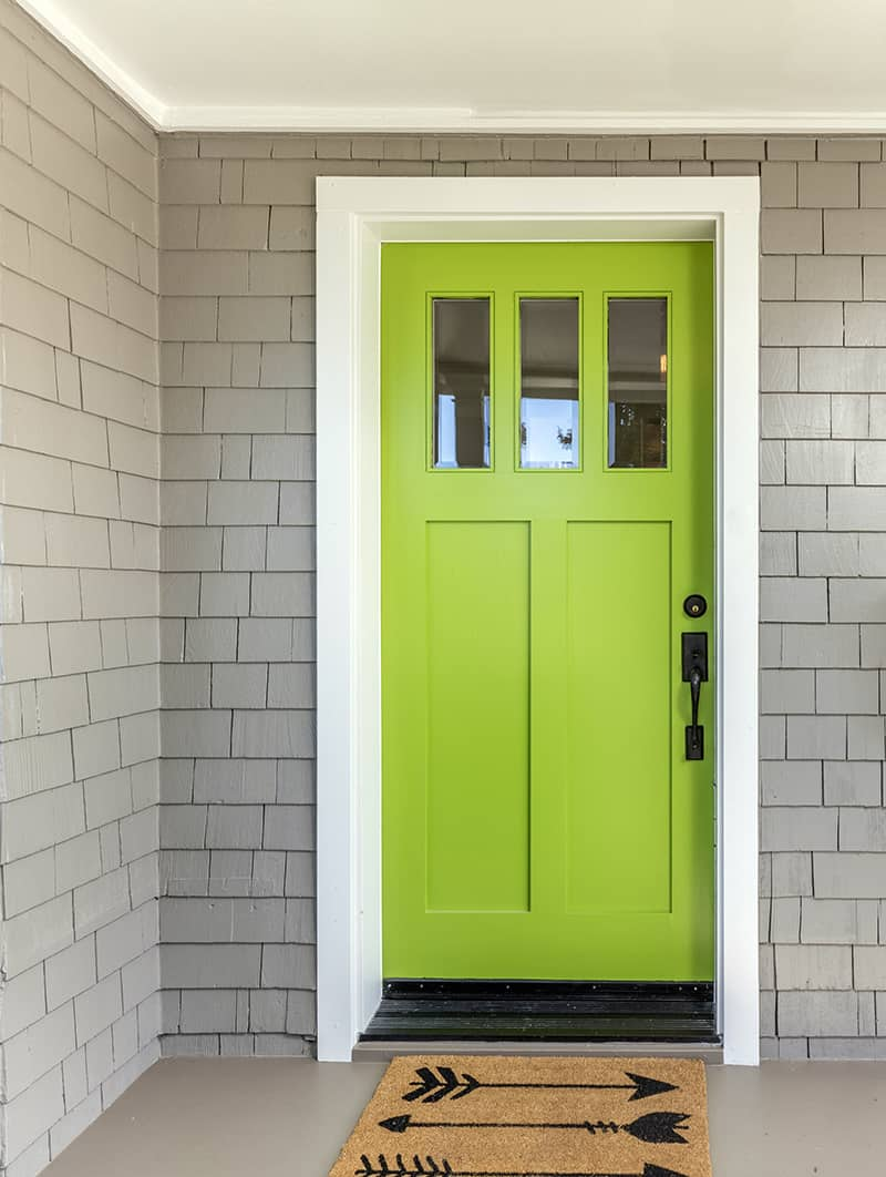Light Green with a Grey Exterior