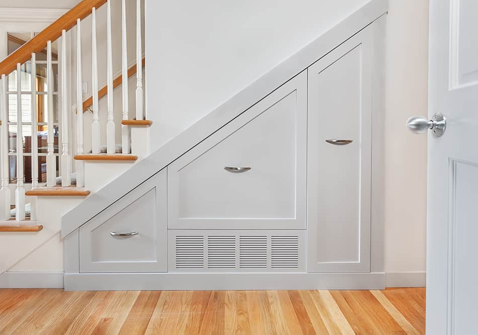 Pullout Cabinets Under the Stairs