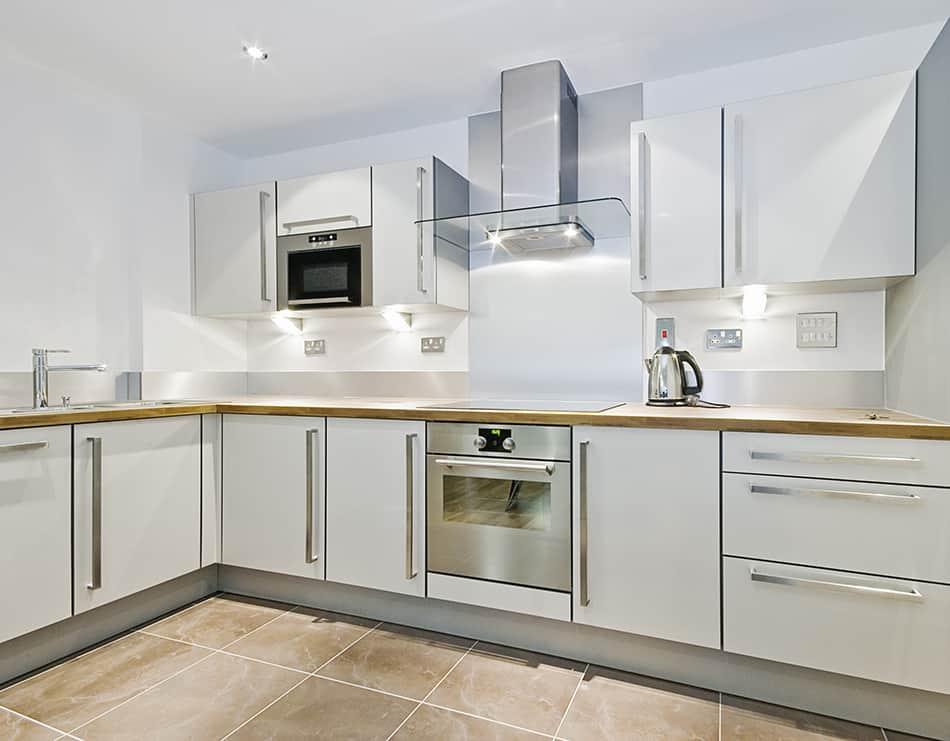 An L-shaped kitchen