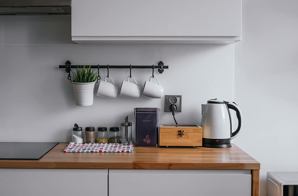 Keep kitchen countertop clean and simple with no spare details