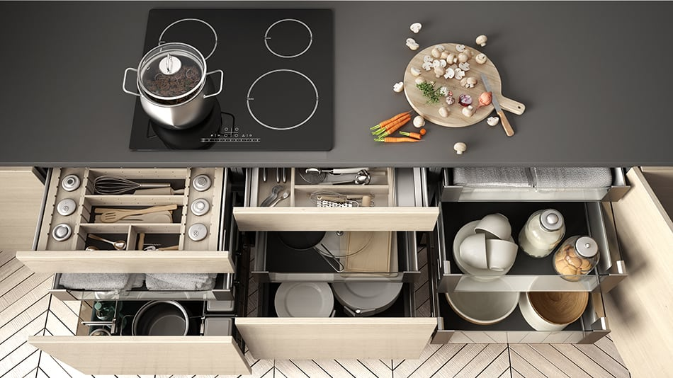Kitchen drawer with accessories inside