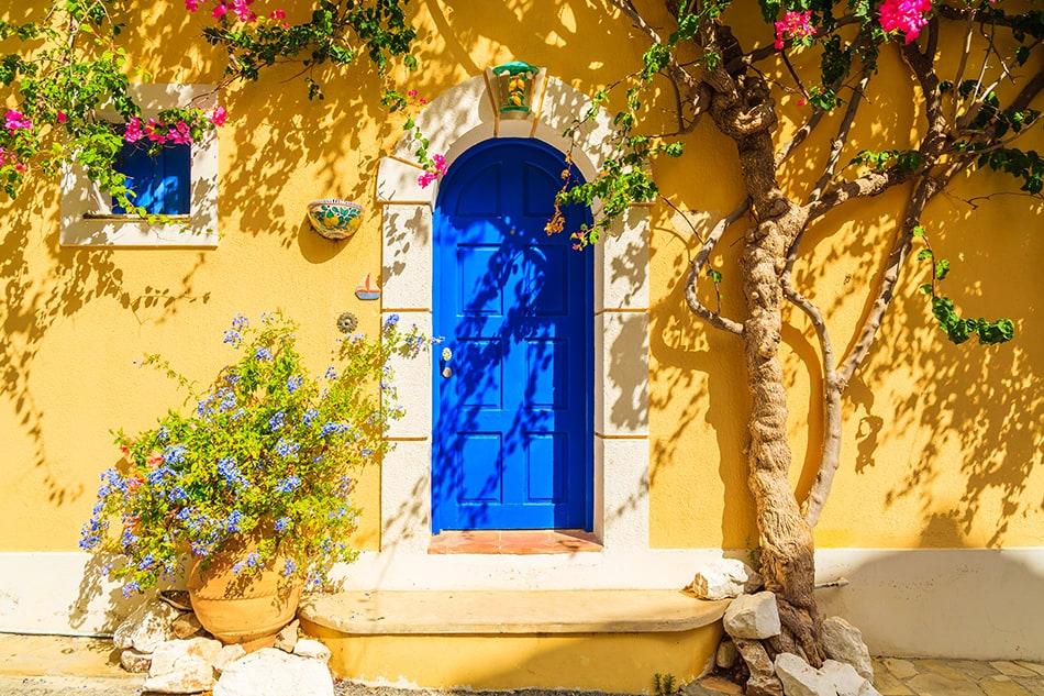 Aqua Blue on a Greek Style Home