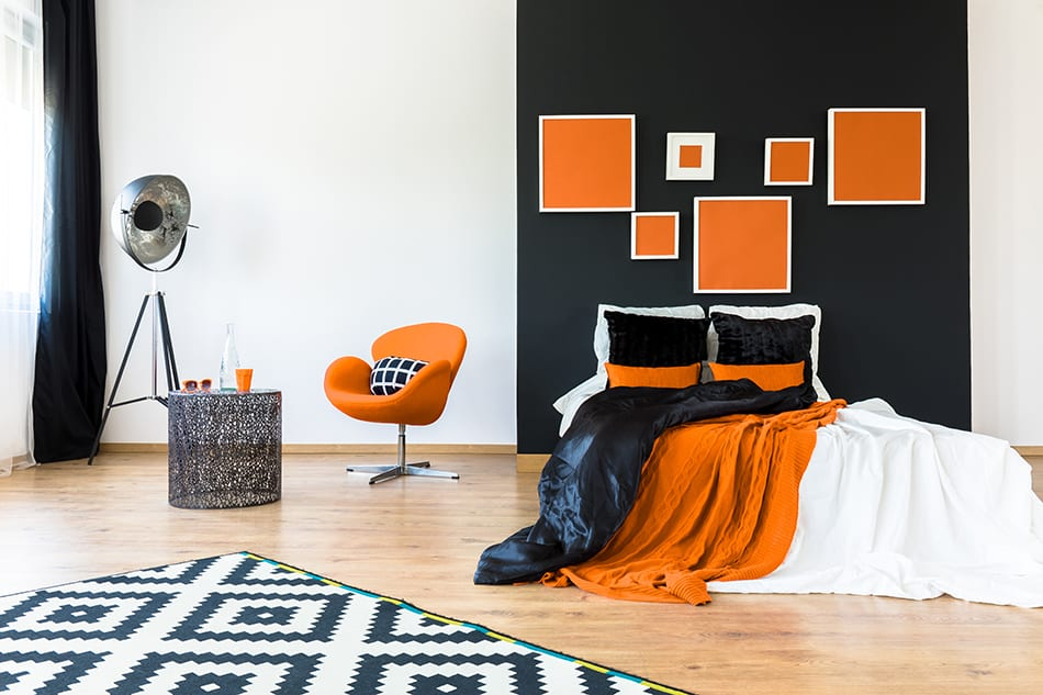 Combine Orange with Black and White