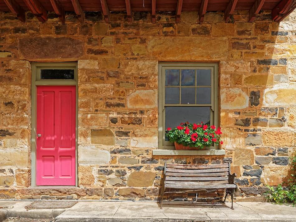 Farmhouse Style Pink Door