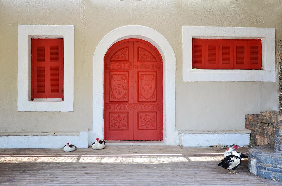 Matching Red Door with Window Shutters