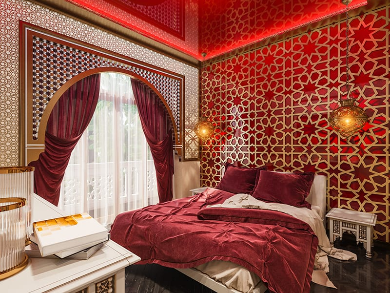 Moroccan-Style Bedding with Matching Curtains