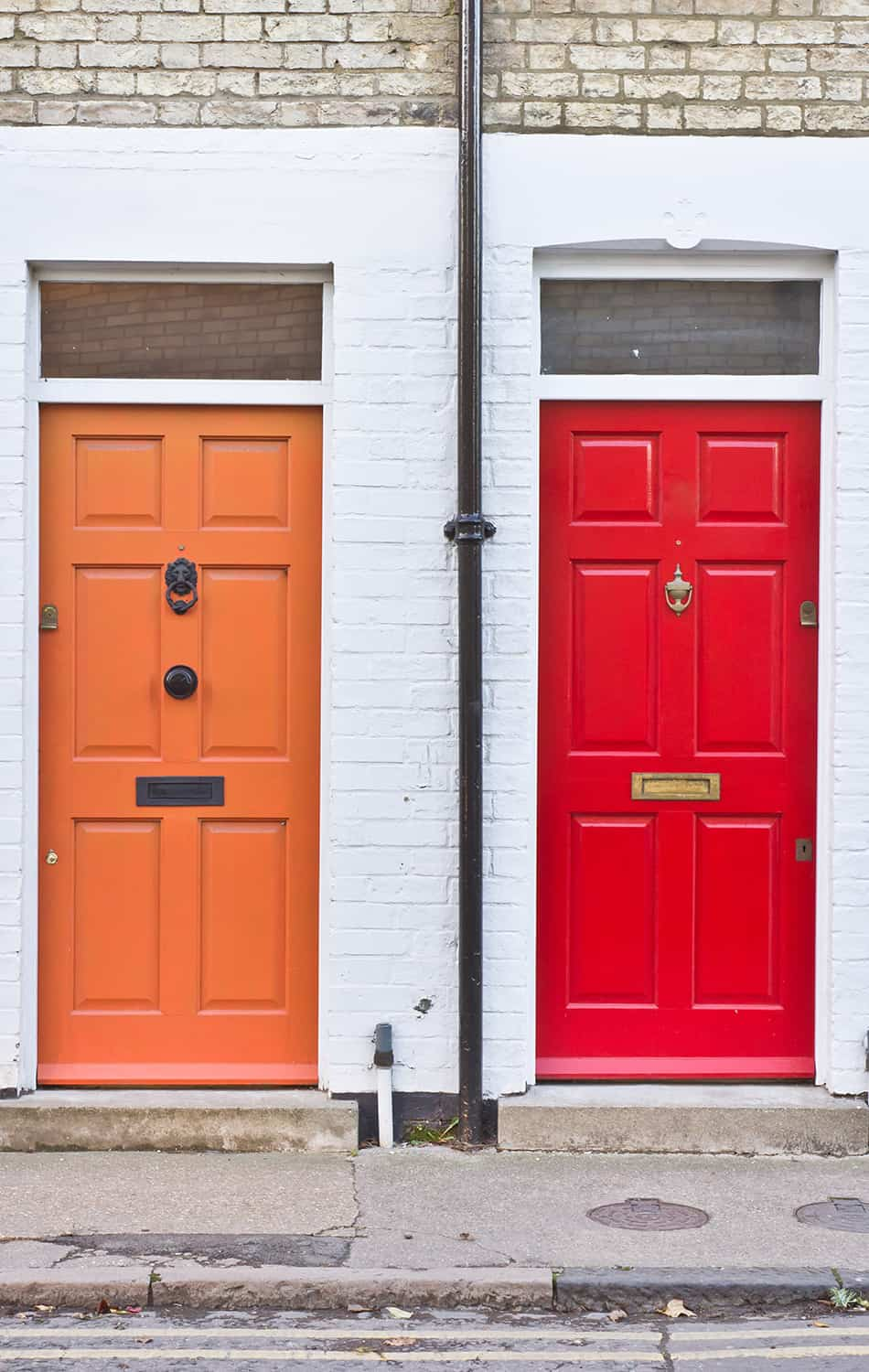 Orange and Red Doors as Matching Pairs