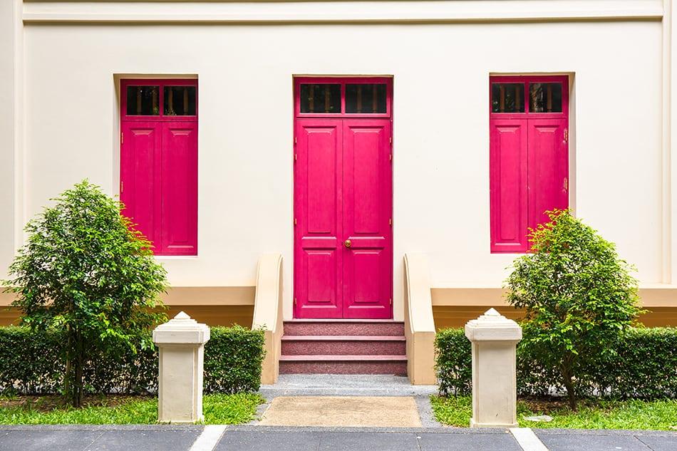 Pink Door with Matching Windows