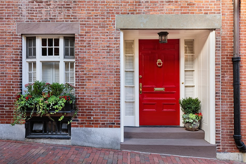 Red Door on Brick Exterior