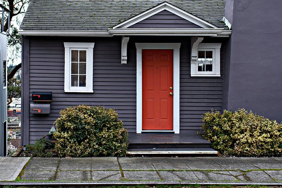 Red Door on Dark-color Siding