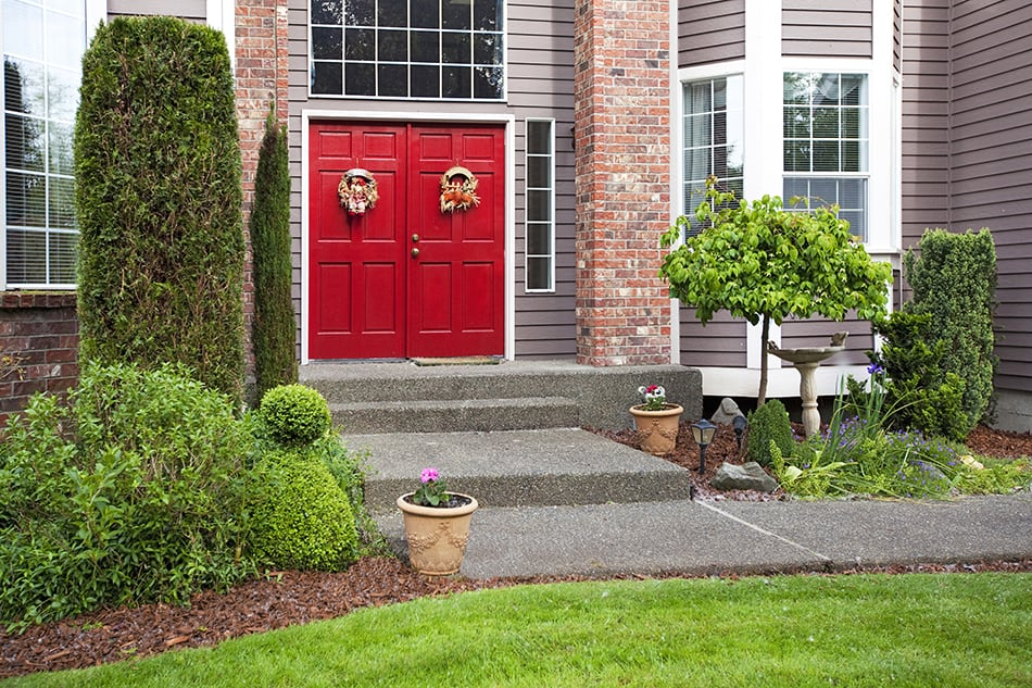 Wide Red Door with Glass Panel to Inspire
