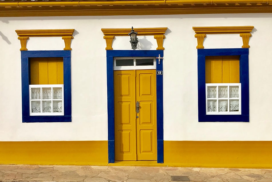 Yellow Door with a Colorful Exterior