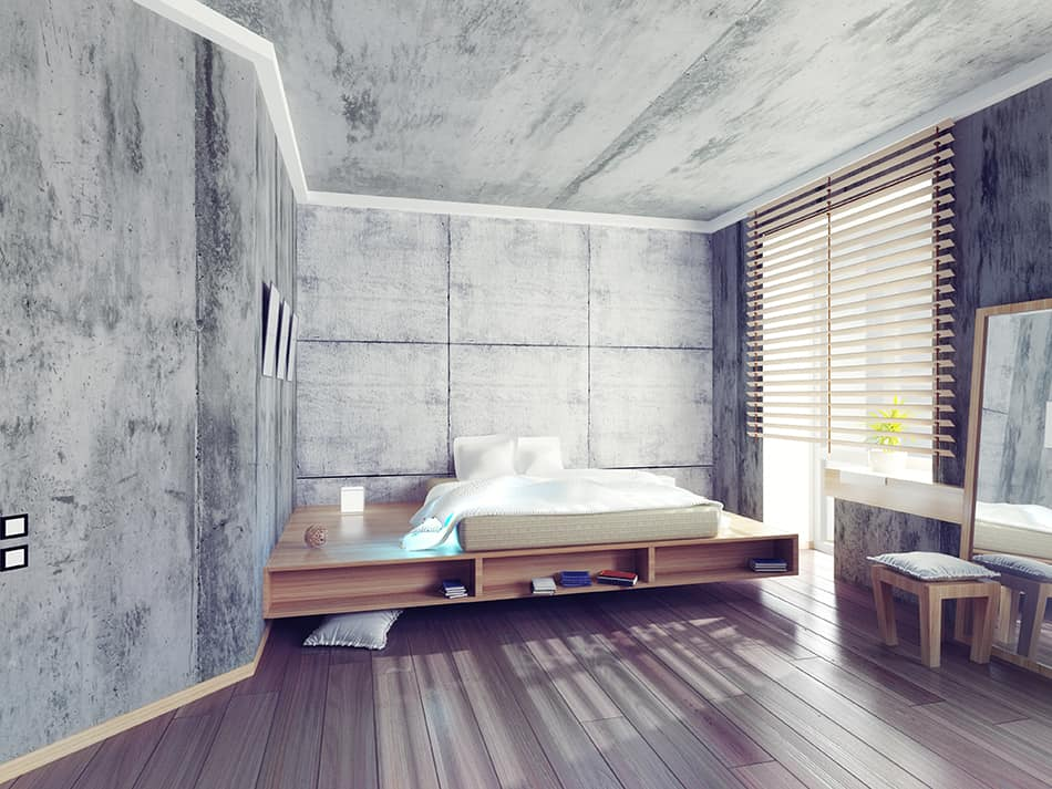 Concrete Panels in the Bedroom