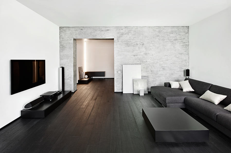 Concrete Wall with Contemporary Furniture
